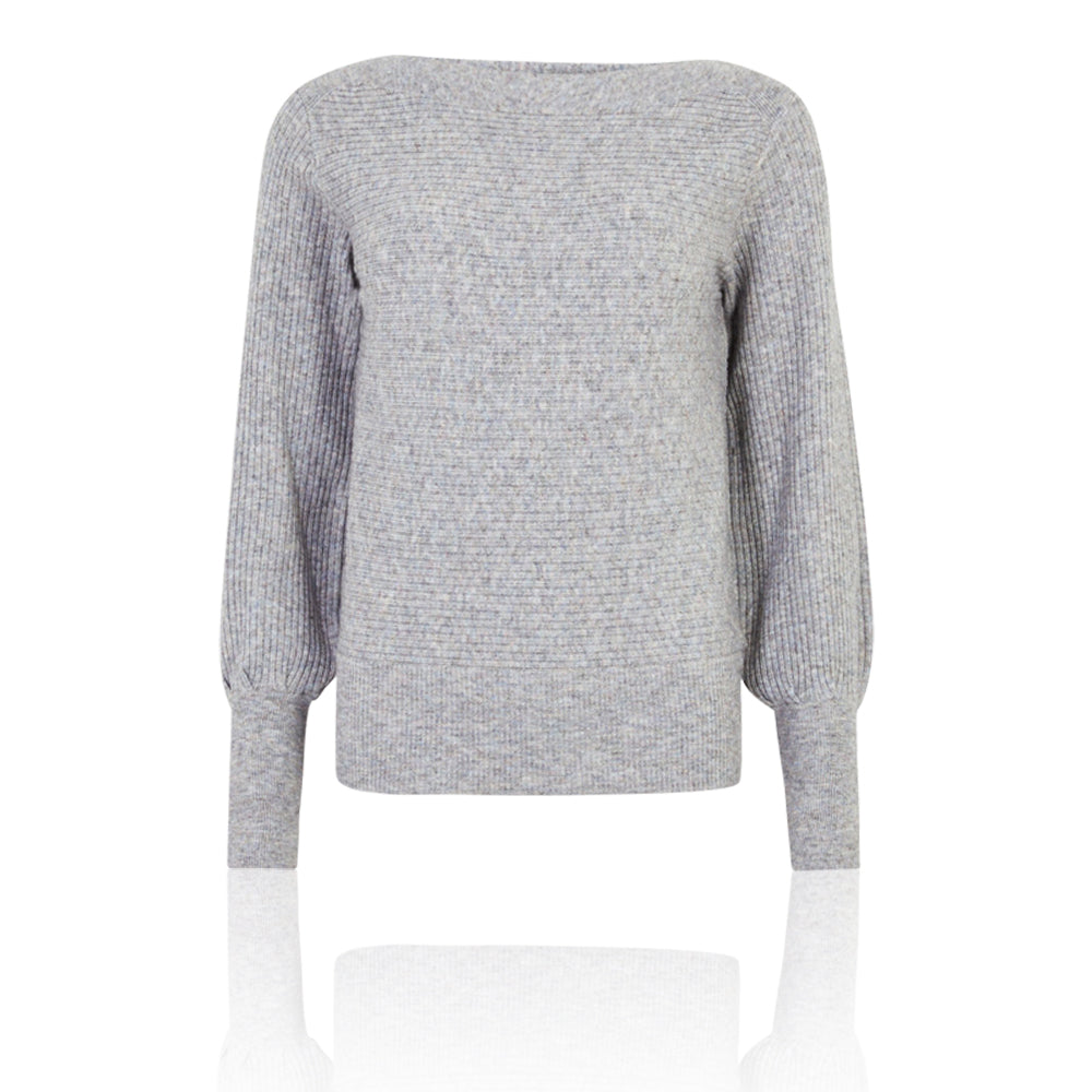 M&S Collection Grey Mix Slash Neck Long Sleeve Jumper