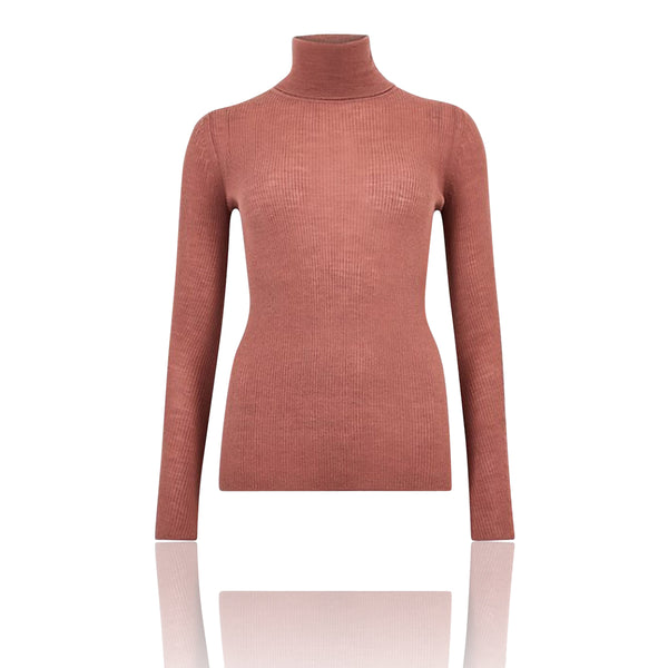 M&S AUTOGRAPH Dusky Rose Pure Merino Textured Roll Neck Jumper
