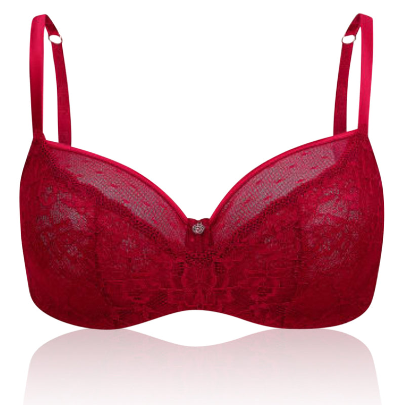 Marks & Spencer - M&S Rosie For Autograph Spot Mesh & Lace Non-Padded Balcony Red Bra B-DD - T816377N