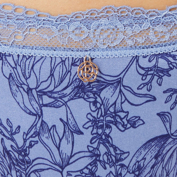 M /& S ROSIE FOR AUTOGRAPH SILK /& LACE PRINTED PURPLE MIX FRENCH KNICKERS