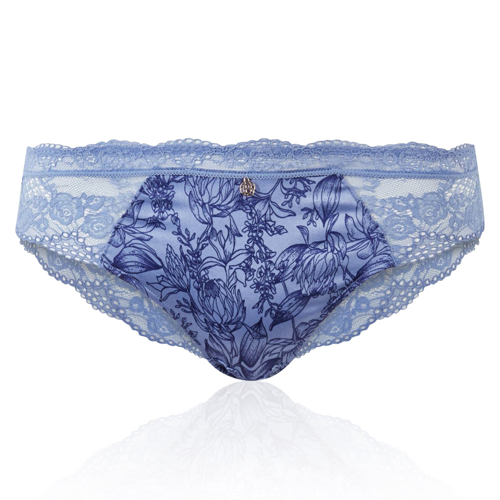 Ex Marks & Spencer - M&S Rosie For AUTOGRAPH Silk Blend Blue Floral Print Brazilian Knickers - T816359A