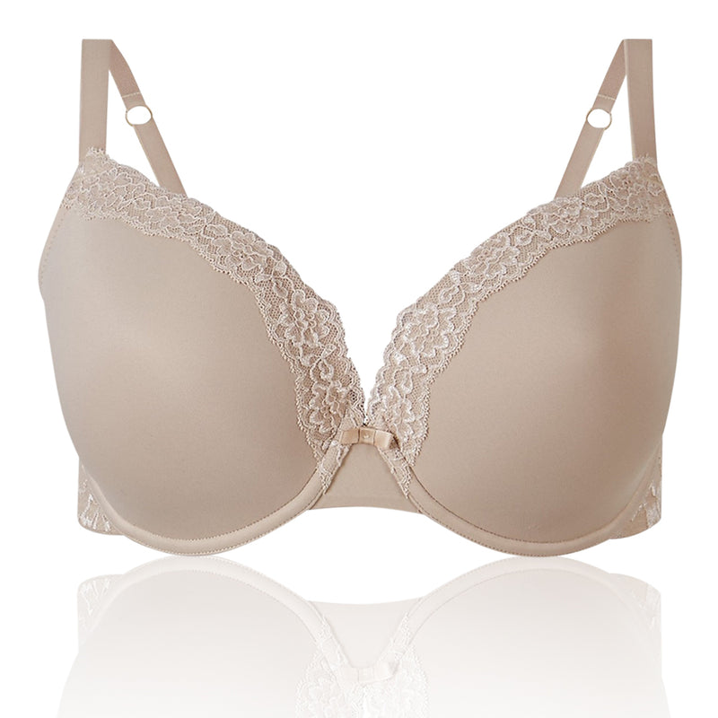 M&S Collection Pack Lace Trim Padded Almond Plunge T-Shirt Bra DD-G