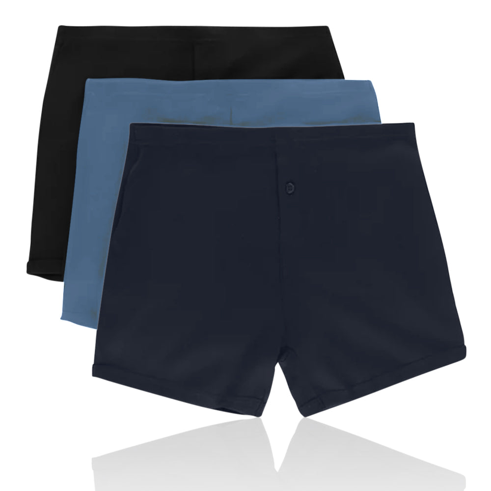M&S Collection 3 Pack Pure Cotton Trunks with StayNEW™ - Mix (1 Black + 1 Blue + 1 Navy) / S - The Outlet London