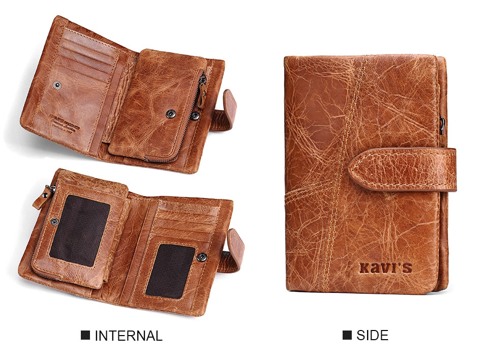 KAVIS Luxury Brand 100% Genuine Cowhide Leather Portomonee Vintage Walet Male Wallet Men Long Clutch with Coin Purse Pocket Rfid