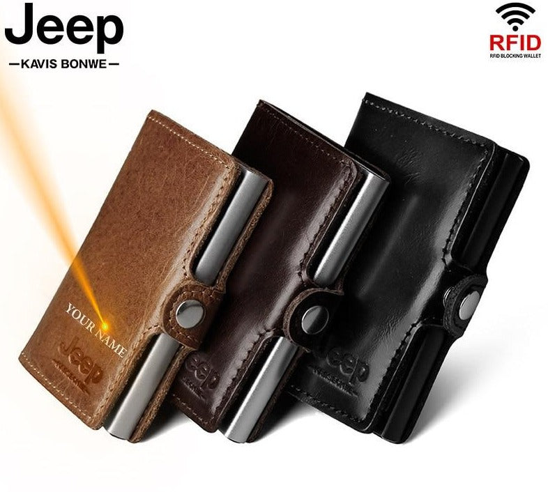 Jeep Rfid Personalized Leather Wallet