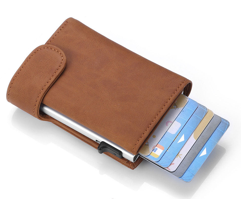 Rfid Genuine Leather Card Holder Men Wallets Slim Thin Magic Wallet