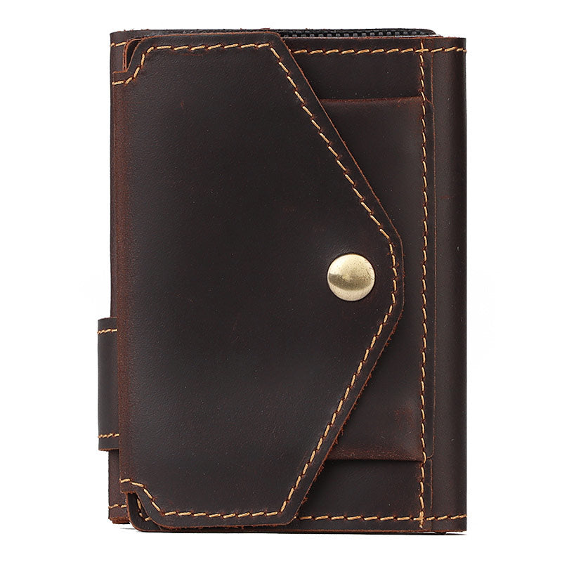 HUMERPAUL RFID Blocking Card Holder Wallet Men Automatic Pop Up ID Card Case Crazy Horse Leather Male Coin Purse Aluminium Box