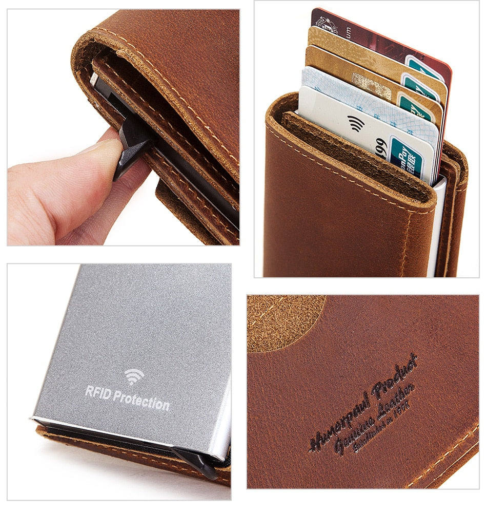Crazy Horse Leather Credit Card Holder Wallet RFID Aluminum Automatically Pop Up Bank Cardholder Case
