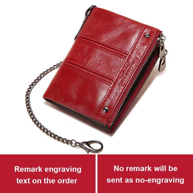 KAVIS Free Engraving Cowhide Leather Women Red Wallets Female Lady Coin Purse Zipper Design Pockets Mini Soft Walet Fashion Vall