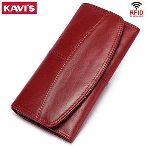KAVIS RFID Cow Leather Women Clutch Wallet Long Style Ladies Female Coin Purse Portomonee Clamp For Phone Bag Girls Handy Purse