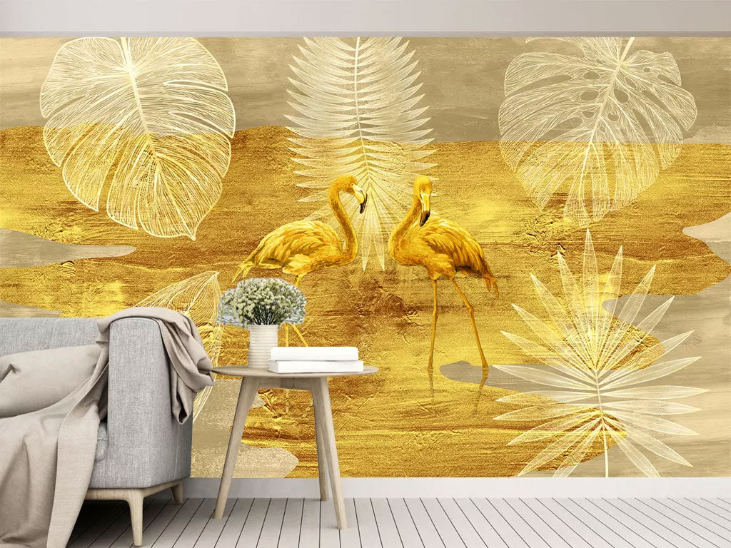 Gold Luxury Design Flamingo Custom Print Wallpaper Mural