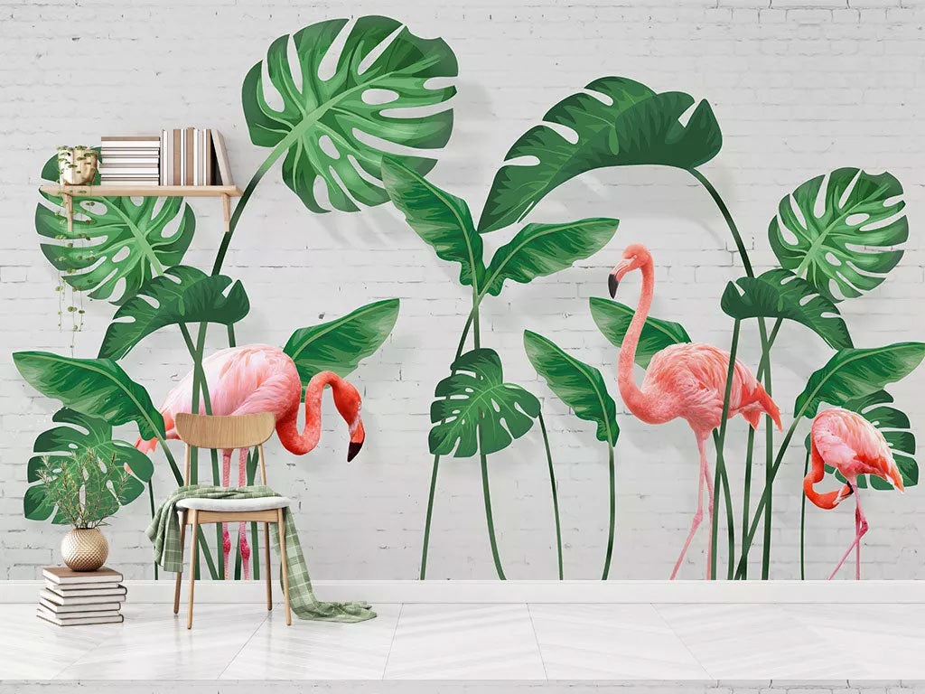 Custom Flamingo With Floral Wall Murals Wallpaper