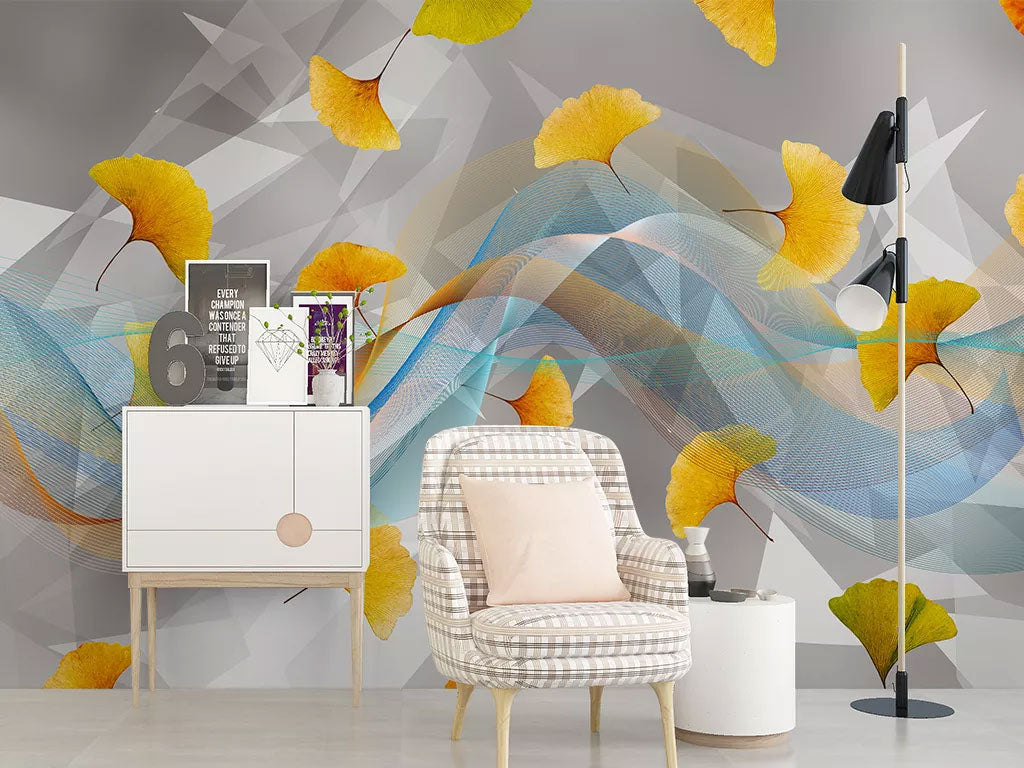 3D Gold Leaves Design Custom Wall Mural Wallpaper