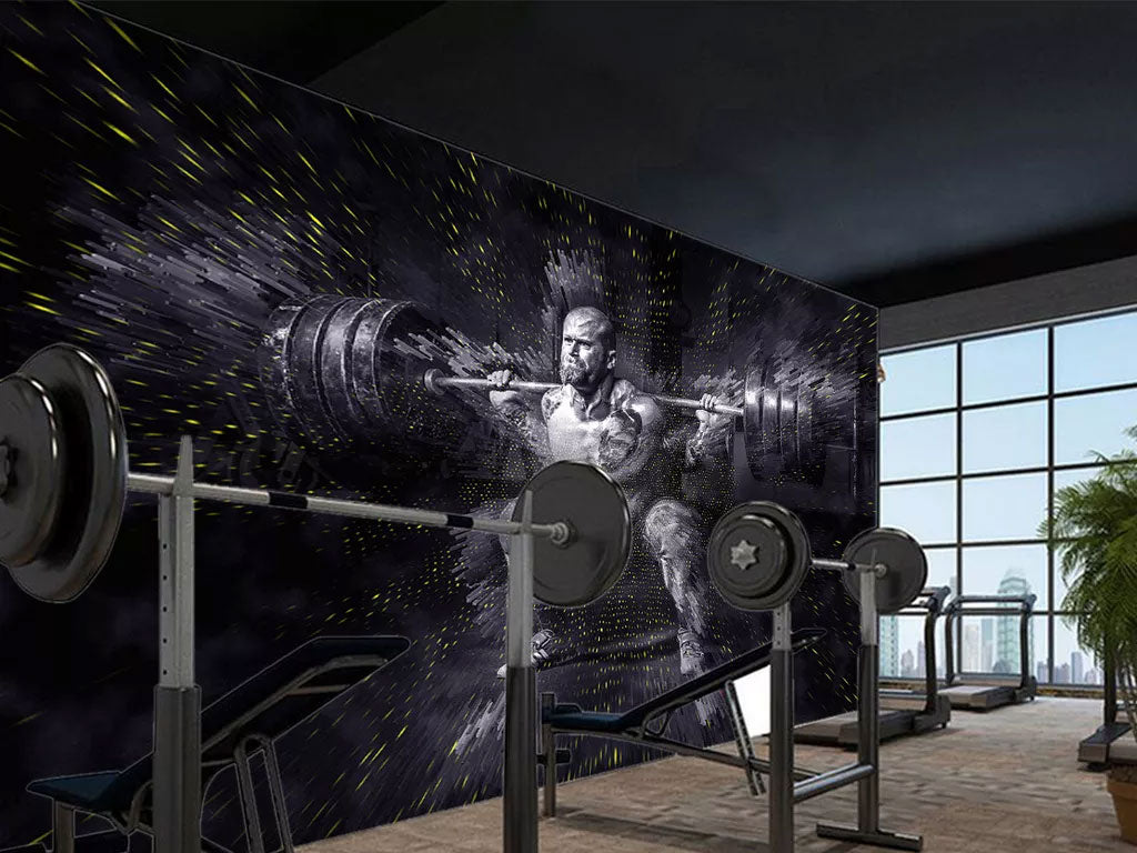 Custom Wall Mural Wallpaper Printing For Weightlifting Club