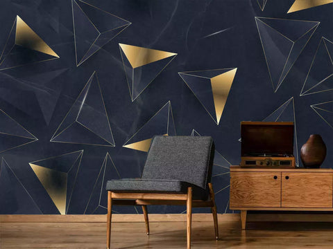 Digital Gold Triangle Abstract Custom Mural Wall Paper
