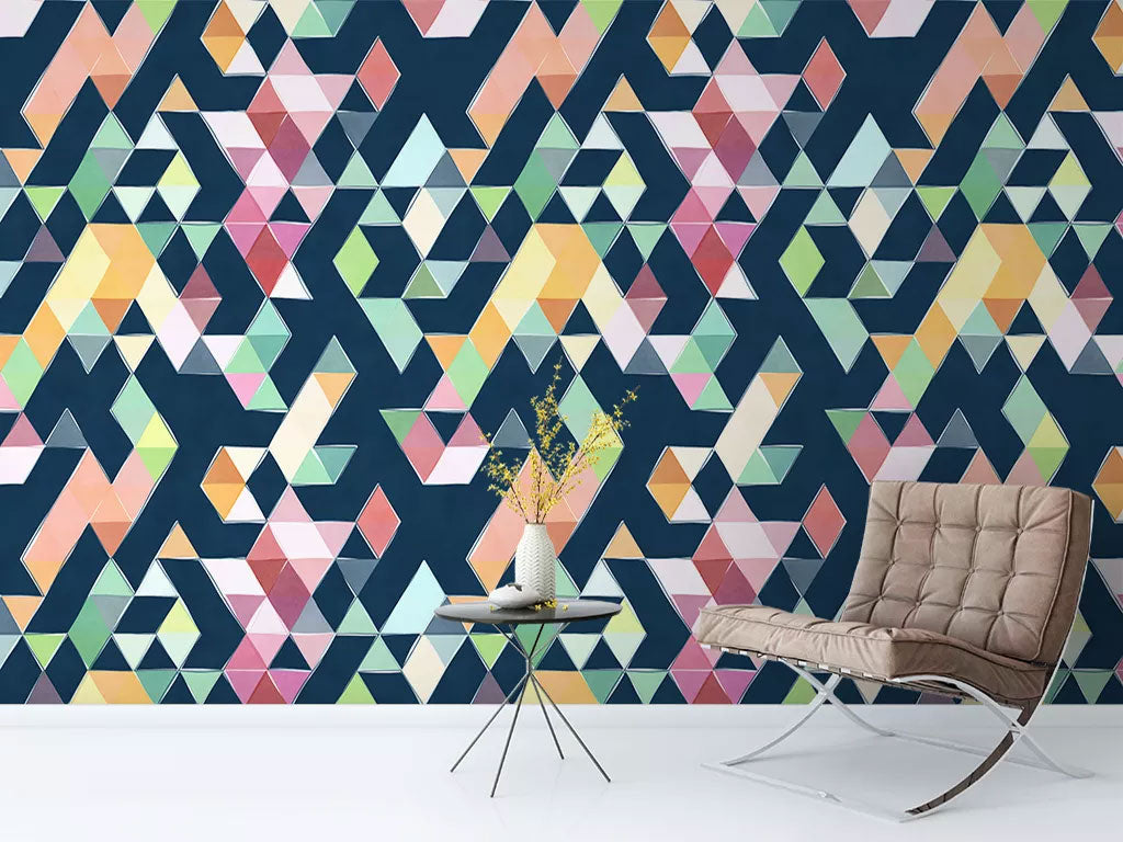 Colorful Triangle Custom Wallpaper Printing