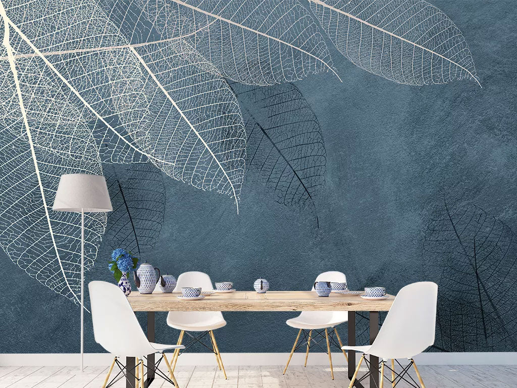 Abstract Leaves Design Custom Wall Mural