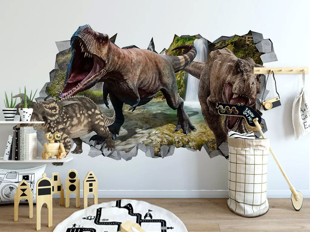 3D Dinosaur Kids Wall Mural Wallcovering Custom Printing