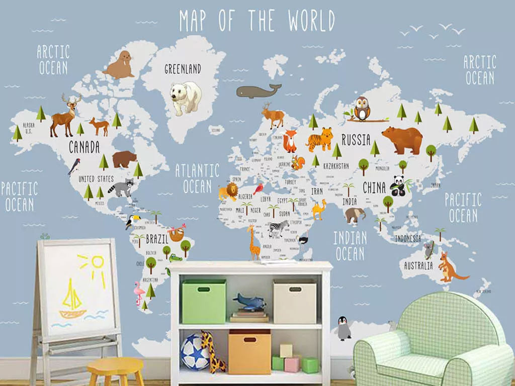 Map Of The World Custom Wallpaper For Kids Room Wall