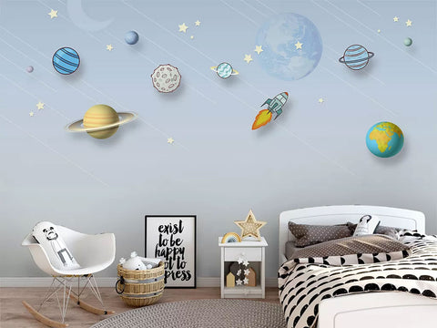 Space Planet Customized Wallpaper For Kids