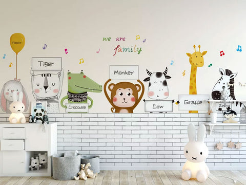 Animals Family Cartoon Kids Wallpaper
