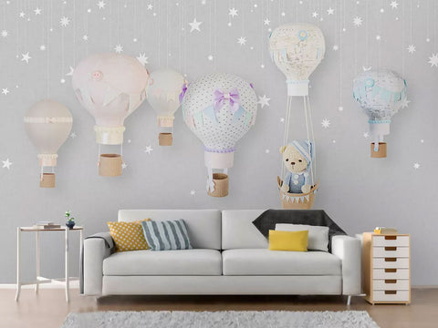 Hot Air Balloon Theme Kids Room Decor Wallpaper
