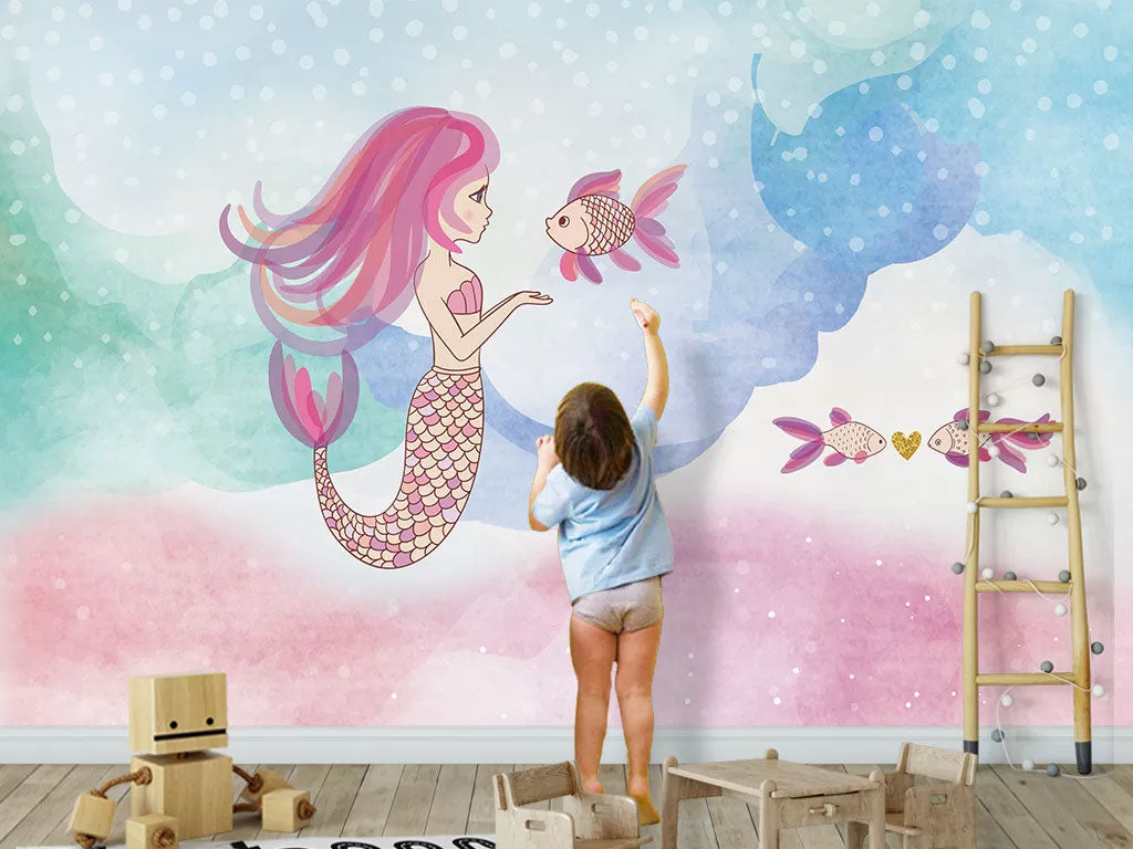 Mermaid Custom Wallpaper For Kids Room