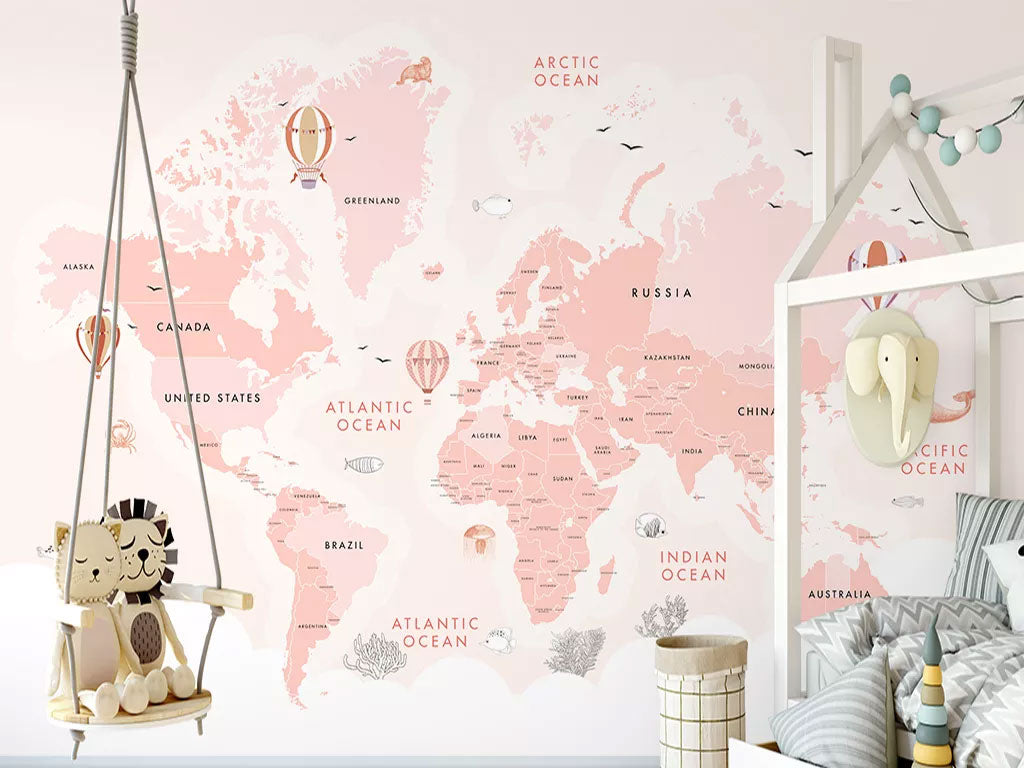 Pink Color World Map Custom Wallpaper For Girls Room