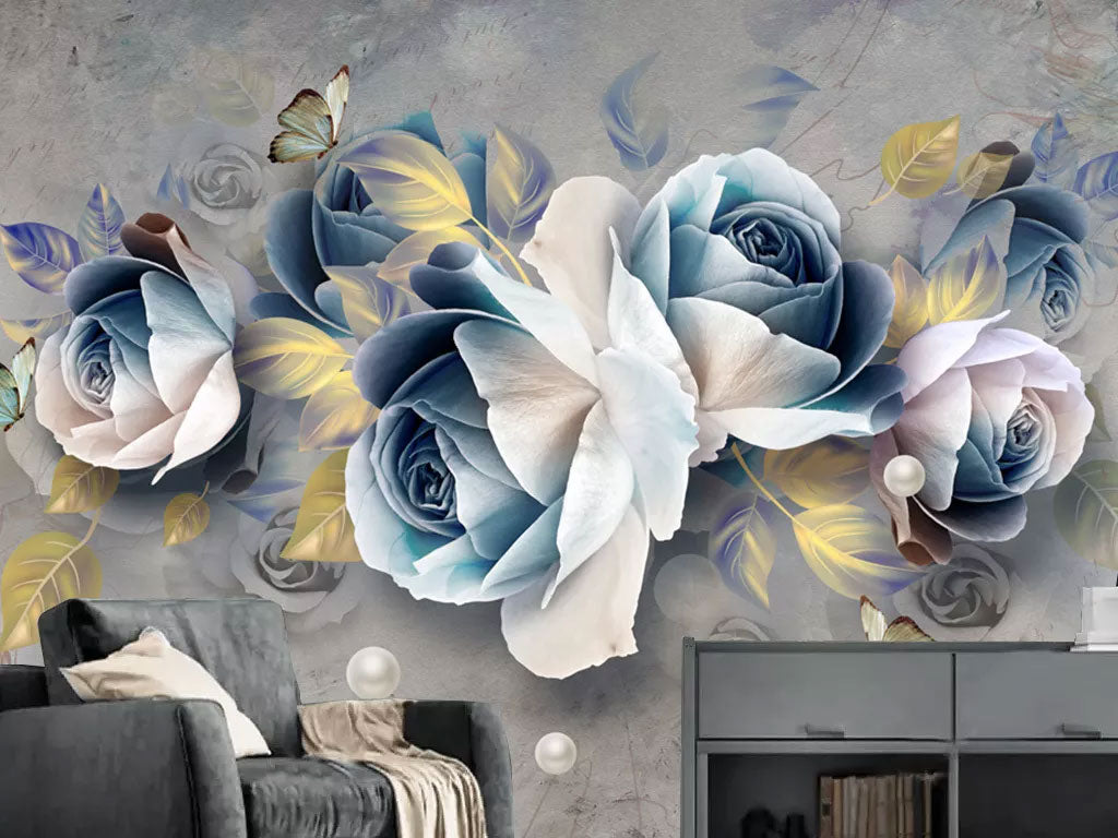 3D Blue Rose Flower Custom Print Wall Mural Wallpaper