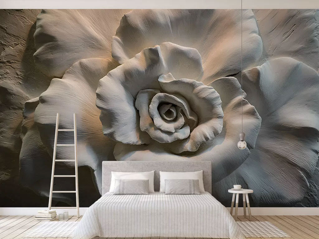 3D Relief Flowers Custom Print Mural Wallpaper