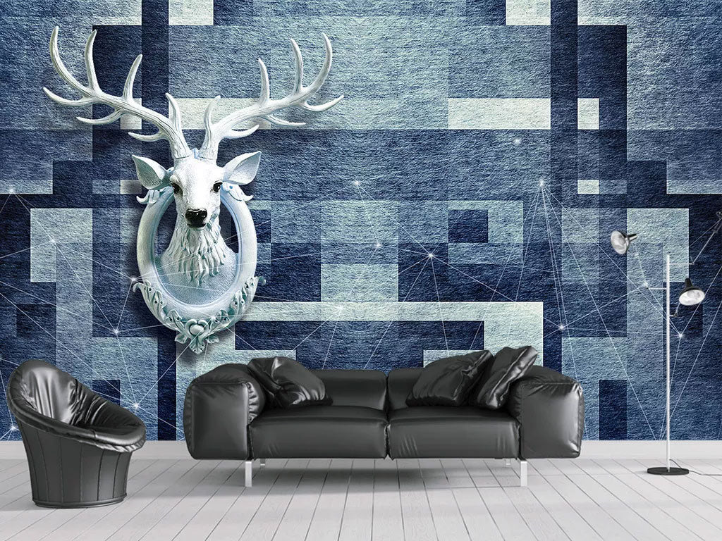 3D Elk Custom Wall Mural Wallpaper Printing