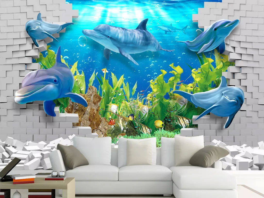 3D Dolphin Custom Wall Mural Wallpaper