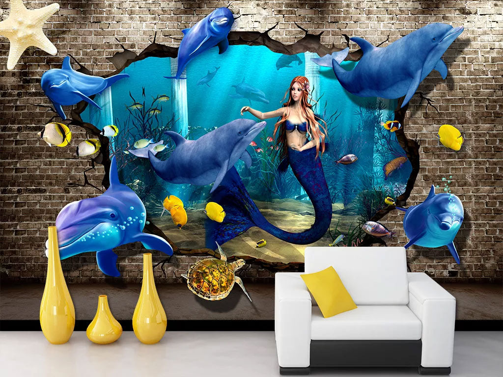 3D Sea Dolphin Custom Wall Mural Wallpaper