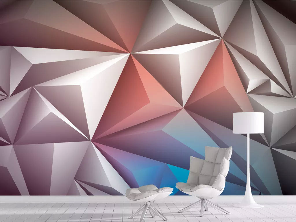 3D Stereo Triangle Custom Printed Wall Mural Wallpaper