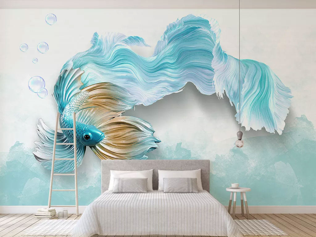 3D Blue Fish Custom Print Wall Mural Wallpaper