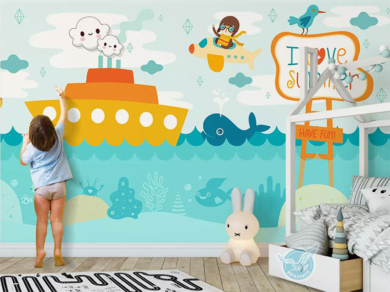 Ship In The Sea With Whale Cartoon Pictures Custom Wallpaper Printing