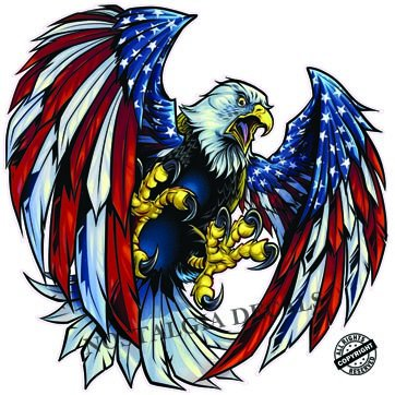 Nostalgia Decals - american eagle vinyl decals for car windows, american flag window stickers, american flag vinyl decals, USA die cut vinyl decal stickers