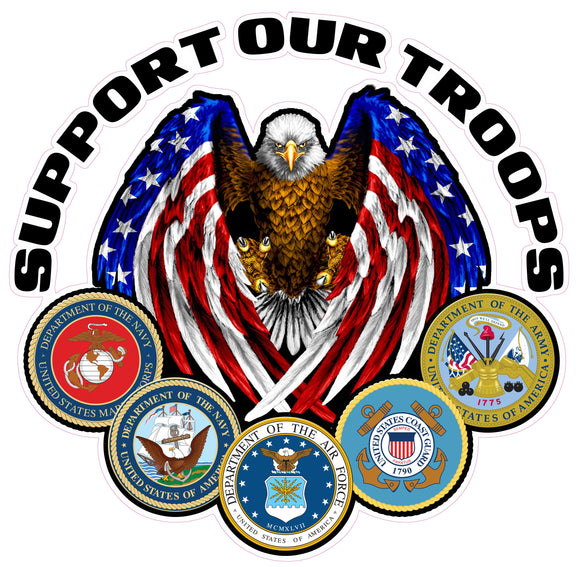 Nostalgia Decals - military car window decals, army vinyl stickers for trucks, marines vinyl decals, navy truck window graphics, support our troops car stickers