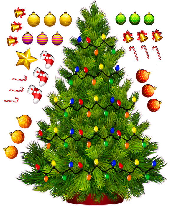 Nostalgia Decals holiday vinyl wall decor, christmas tree vinyl window sticker, build your own christmas tree wall sticker