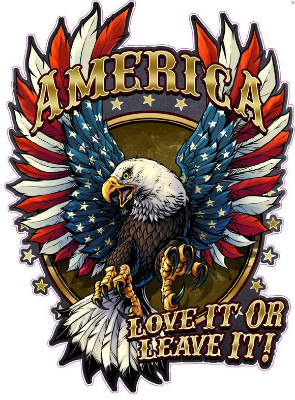 American Bald Eagle American Flag Love it or Leave it Magnet Decal- | Nostalgia Decals Online decal stickers for your car, patriotic vinyl graphics, american flag window stickers, eagle decals