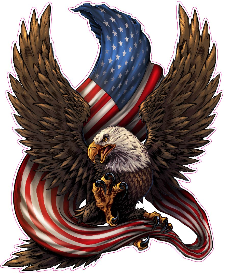 American Bald Eagle American Flag Decal Nostalgia Decals