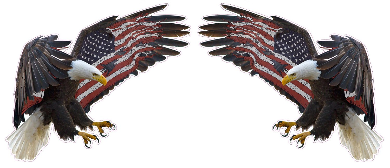 Uv Laminated American Eagle American Flag X Large Pair Decal