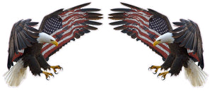 "American Eagle American Flag Pair Decal- 5"" x 4"" 