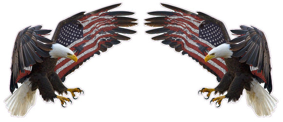 American Eagle American Flag Pair Decal | Nostalgia Decals Online window stickers for cars and trucks, die cut vinyl decals, vinyl graphics for car windows, vinyl wall decor stickers