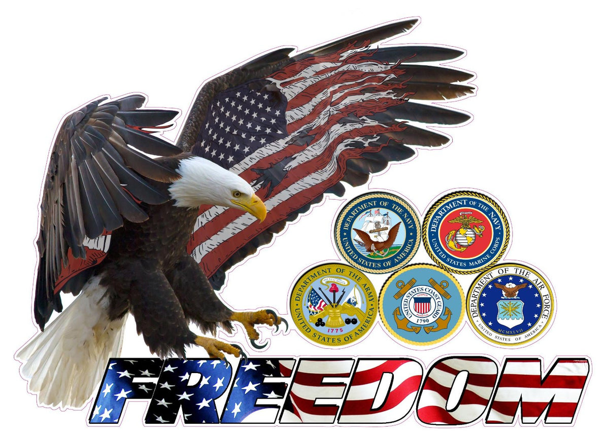American Eagle Freedom Armed Forces Decal Nostalgia