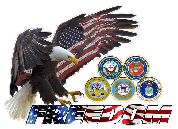 American Eagle Freedom Armed Forces Decal - 24