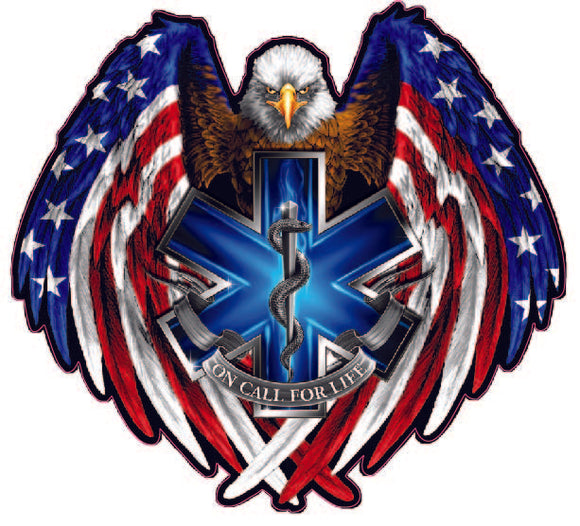 American Flag American Eagle EMT on call for Life- | Nostalgia Decals Online decal stickers for your car, patriotic vinyl graphics, american flag window stickers, eagle decals
