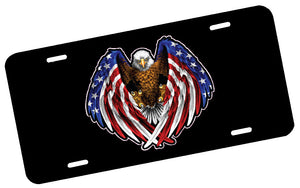 American Flag Eagle Wings License Plate