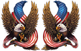 American Bald Eagle American Flag Decal pair