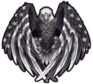 American Flag Eagle Wings Gray Scale Decal